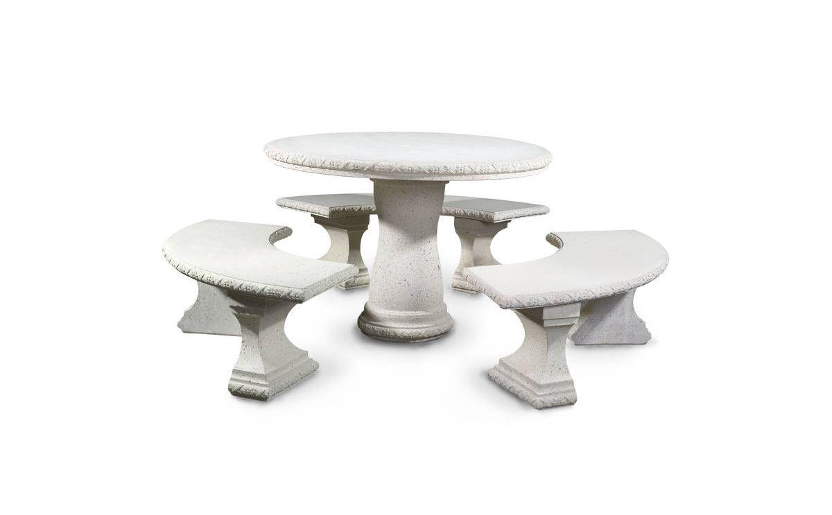 beton tisch runder tisch mit 3 sitzb nken produkte. Black Bedroom Furniture Sets. Home Design Ideas